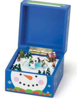 Snowman Blue Pom Pom Music Box 5x5x5