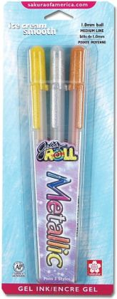 Gelly Roll Metallic Medium Point Pens 3/Pkg-Gold, Silver & Copper
