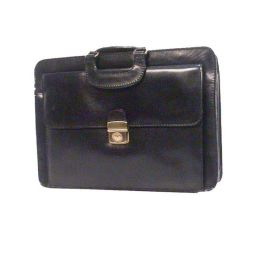 Bond Street 760412BLK Lockable Front Flap Top Zip Black Leather Briefcase