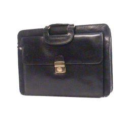 Bond Street 760412BLK Lockable Front Flap Top Zip Black Leather Briefcase