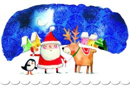 Santa With Reindeer Christmas Boxed Card