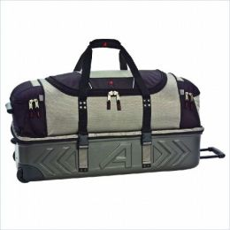 Athalon Sportsgear 961SB Athalon Molded 21 in. Wheeling CarryOn Detachable Duffel Silver-Black