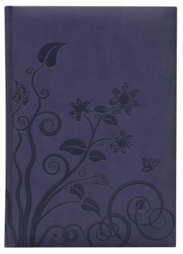Violet Flowers Leather Look Bound Lined Journal 6.75 X 9.5