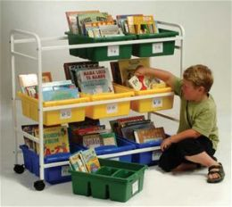 Copernicus BB005-9 Leveled Reading Book Browser Cart with 6 Large Divided and 3 Open Tubs