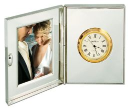 Silver Clock with Gold Bezel and Frame
