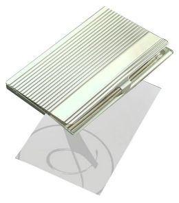 Silver Ribbed Business Card Case