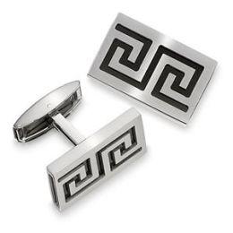 Men s STEL Stainless Steel Cufflinks with Black Greek Key Enamel Accent- 80738