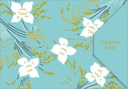 White Flowers on Blue Tri-fold Thank You Boxed Note Set of 10