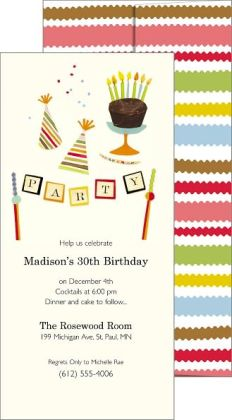 Party Jubilee Imprintable Invitation Set of 10