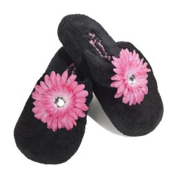 Bejeweled Slipper Size 12/13 Black with Flower