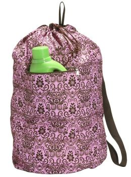 Pink Scroll Laundry Bag