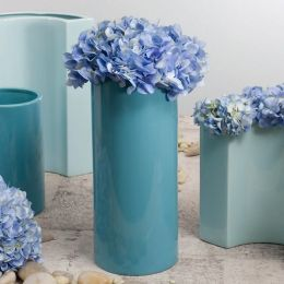 Large Cylinder Vase Cool Blue