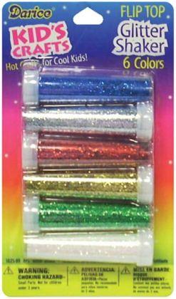 Flip Top Glitter Shaker 6/Pkg-Red, Blue, Silver, Gold, Green, White