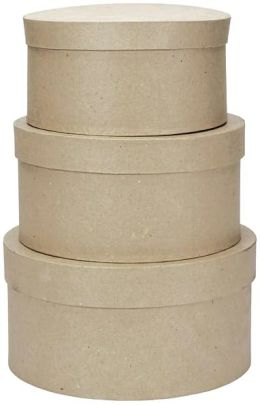 Paper Mache Round Box Set Of 3-4