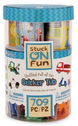 PomTree Sticker Bucket Large with Foam, Felt and Paper Stickers Transportation Theme.