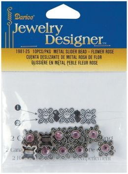 Metal Slider Bead W/Swarovski Crystal 10/Pkg-Flower/Rose