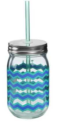 Chevron Mason Glass Tumbler with Straw 16 oz.