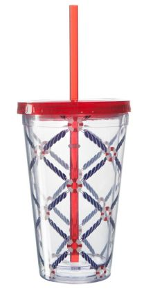 Life Preserver Double Wall Acrylic Tumbler with Straw- 16 oz.