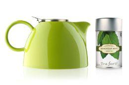 Pistachio Green 48 oz. Aspen Teapot with Moroccan Mint Loose Tea