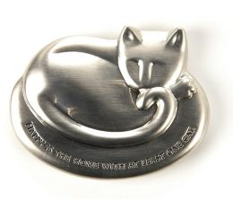 Cat Brushed Metal Silver Paperweight