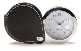 Black Leather Travel Alarm Clock with Glow In The Dark Hands