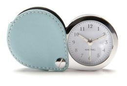 Aqua Leather Travel Alarm Clock with Glow in the Dark Hands