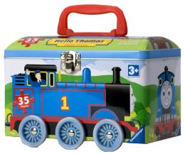 Hello Thomas 35 Piece Puzzle in a Tin on Wheels