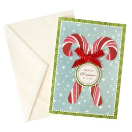 Merry Christmas To You Candy Canes Boxed Cards, Set of 10
