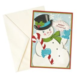 Retro Glitter Snowman Christmas Boxed Cards, Set of 10