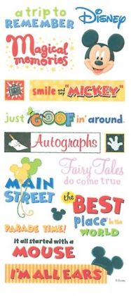 Disney Stickers/Borders Packaged-Mickey Themepark Phrase Stickers
