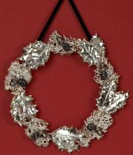 Holly and Cypress Silver Wreath 12
