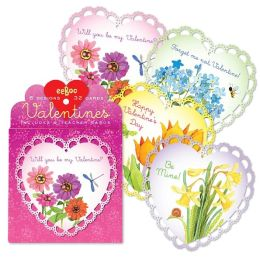 Flowers Valentine Box Card Set of 32