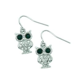 Rhinestone Mini Owl Earrings