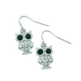 Rhinestone Mini Owl Earrings
