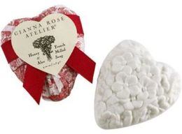 Heart Shaped Soap in Red & White Toile Tissue