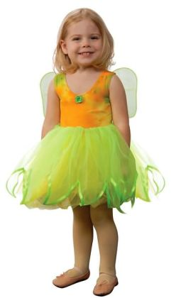 Tye Dye Fairy Dress with Attached Wings, Lime Green/Yellow, size 6/8