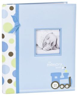 Blue Train Baby Book with Clean Touch Ink Pad 11'' x 9.3''