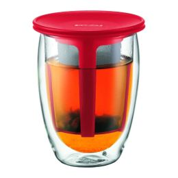 Bodum Tea for One, Double Wall, 12 oz & Tea Strainer - Red