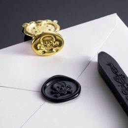 Skull and Crossbones Wax Seal Set with Black Wax