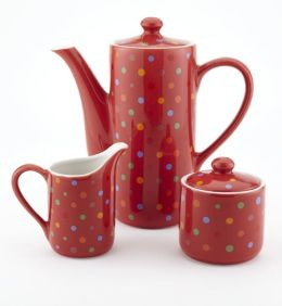 Polka Dot Coffee/Teapot, Creamer & Sugar Bowl Gift Set, 20 oz