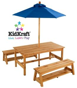 Kidkraft Table & Benches with Blue Umbrella
