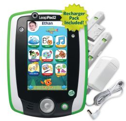 LeapFrog LeapPad2 Power Kids' Learning Tablet, Green (includes rechargeable battery  $40 value)