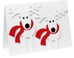 SKIING REINDEER CHRISTMAS BOXED CARD