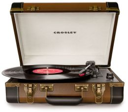 Executive Portable USB Turntable- Brown/Black