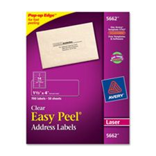 Avery Consumer Products AVE5661 Laser Labels- Mailing- 1in.x4in.- Clear