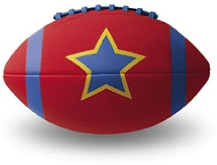 Football Red with blue star Boxed 9 inch