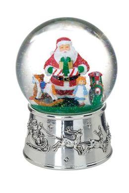 Silverplated Santa Toyland Snowglobe