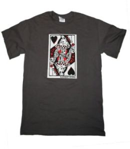 Queen Of Blackhearts Mens Tee (Lg) (Gry) (Queen Of Blackhearts Mens Tee)