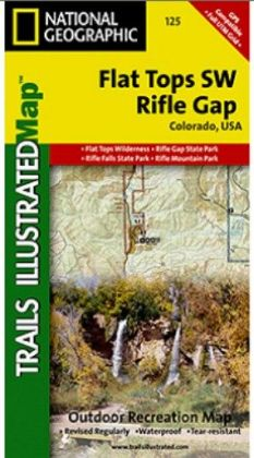 National Geographic TI00000125 Map Of Flat Tops SW-Riflegap - Colorado