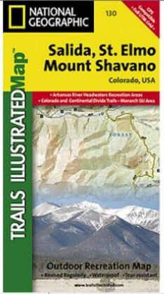 National Geographic TI00000130 Map Of Salida-St Elmo-Shavano Peak - Colorado